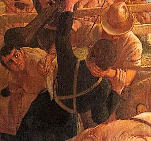 closeup detail of painting showing hand to hand combat