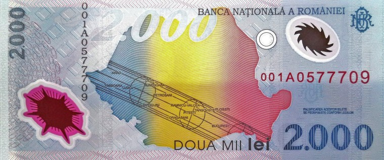Romania 2000 Lei Banknote  front, featuring path of solar eclipse