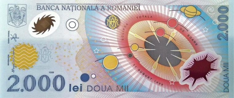 Romania 2000 Lei Banknote  front, featuring solar system