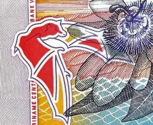 closeup detail from Suriname 5 Guden Banknote, Year 2000 back, featuring bat in flight