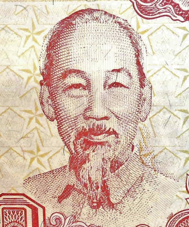 closeup detail from Vietnam 500 Dong Banknote, Year 1988, featuring portrait of Ho Chi Minh