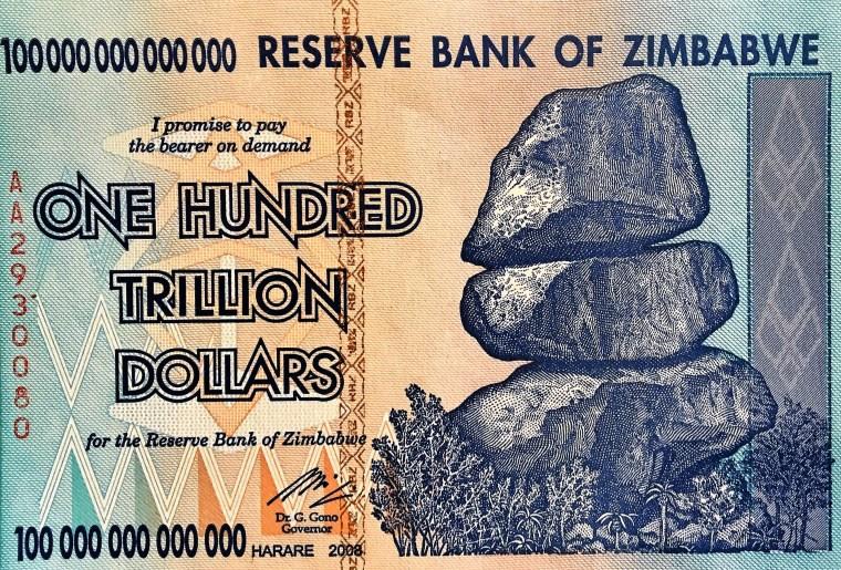 Zimbabwe 100 Trillion Dollar banknote 2008 front , featuring balancing stones