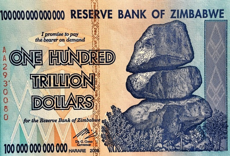 Zimbabwe 100 Trillion Dollar banknote 2008 front , featuring balancing stones