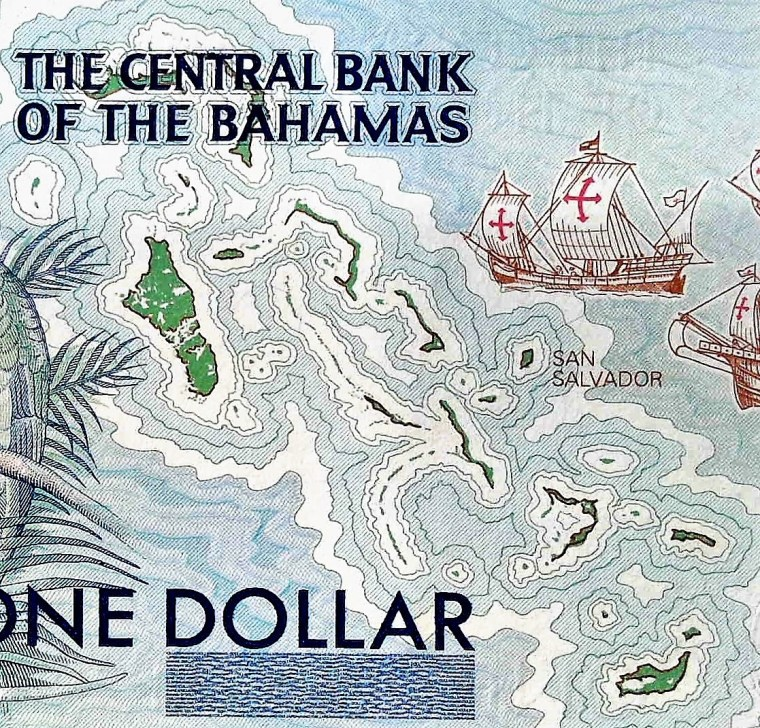 closeup detail of The Bahamas 1 Dollar Quincentennial Banknote, Year 1992 front, featuring ships approaching shoreline