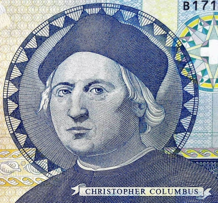 closeup detail of The Bahamas 1 Dollar Quincentennial Banknote, Year 1992 front, featuring portrait of Christopher Columbus