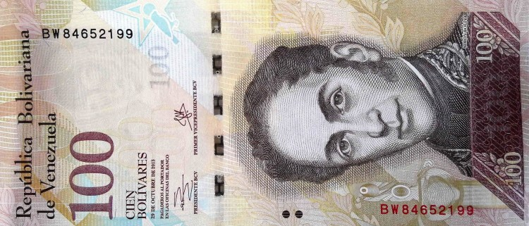 Venezuela 100 Bolivares Banknote, Year 2013 front