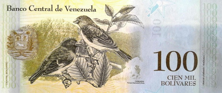 Venezuela 100 thousand Bolivares Banknote, Year 2017 , back, featuring birds