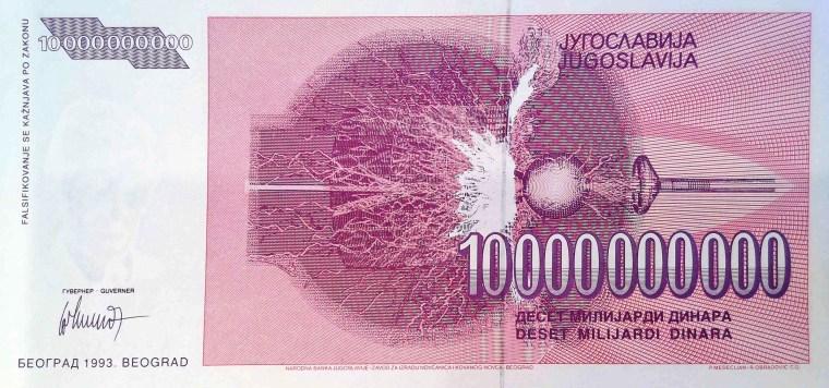 Yugoslavia 1992 10,000,000 back, featuring Tesla coil