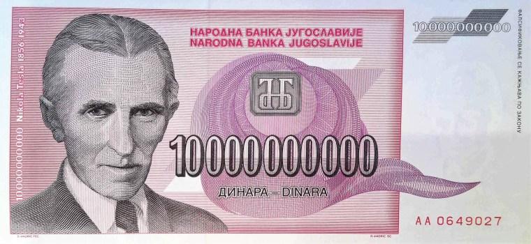 Yugoslavia 1993 10,000,000 banknote front, featuring portrait of Nikola Tesla