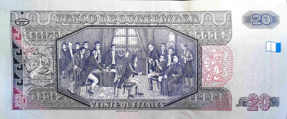 """Guatemala 20 Quetzals Banknote back, featuring """"The Signing of The Declaration of Independence"""""""