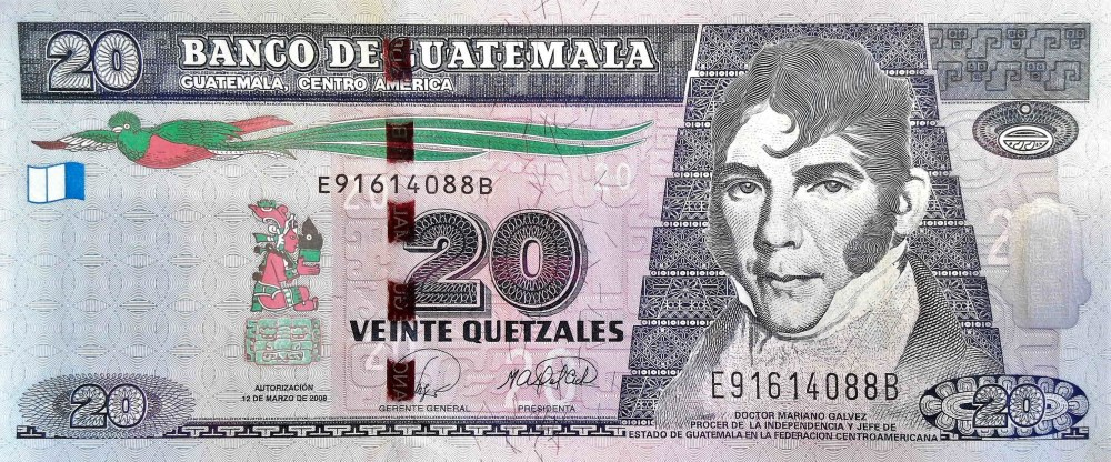 Guatemala 20 Quetzals Banknote  front, featuring portrait of Mariano Galvez