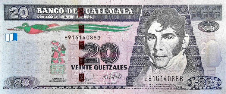 Guatemala 20 Quetzals Banknote  front, featuring portrait of Mariano Galvez