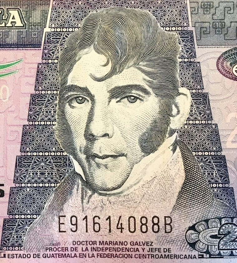 closeup detail from Guatemala, 20 quetzales, obverse (2008) , featuring portrait of Doctor Mariano Galvez