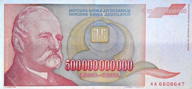 Yugoslavia 500 Billion Dinars Banknote, Year 1993 front