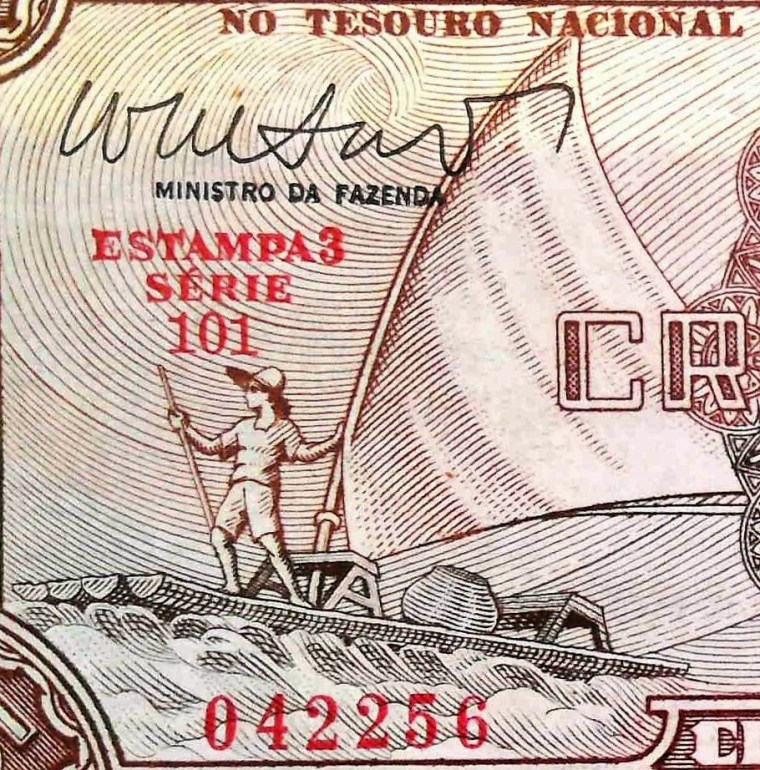 closeup of detail from Brazil 5 Cruzeiros Banknote