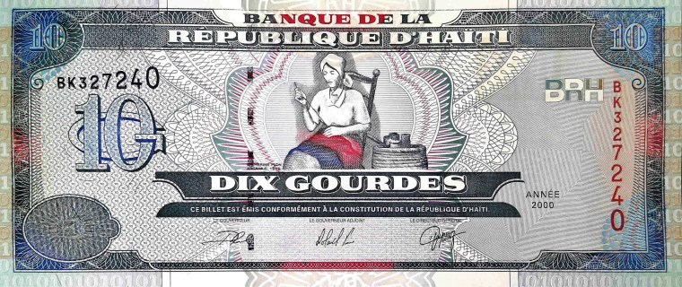 Haiti 10 Gourdes Banknote front, featuring Catherine Flon sewing first flag of Haiti