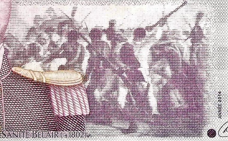 closeup detail from Haiti 10 Gourde 2004 banknote front (2) featuring The Tigress, Suzanne Blair's military uniform