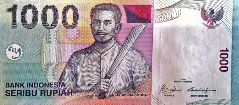 Indonesia 1000 Rupiah Banknote, Year 2009 front