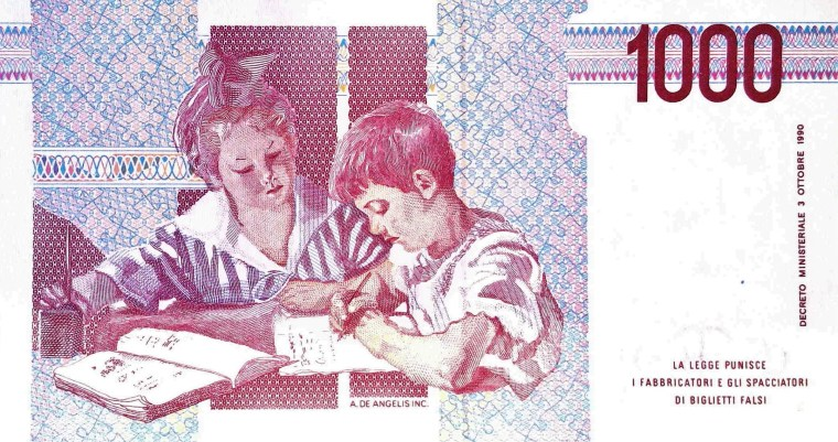 Italy 1000 Lira 1990 banknote back, featuring school children studying