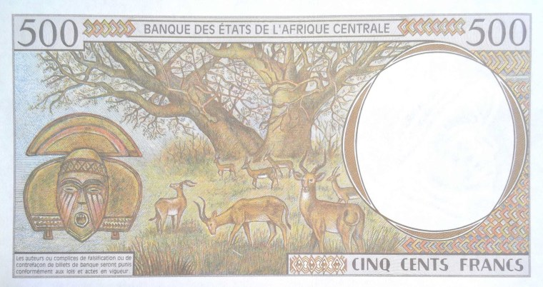 Gabon 500 Francs Banknote back, featuring antelope feeding under baobab tree and a kota mask