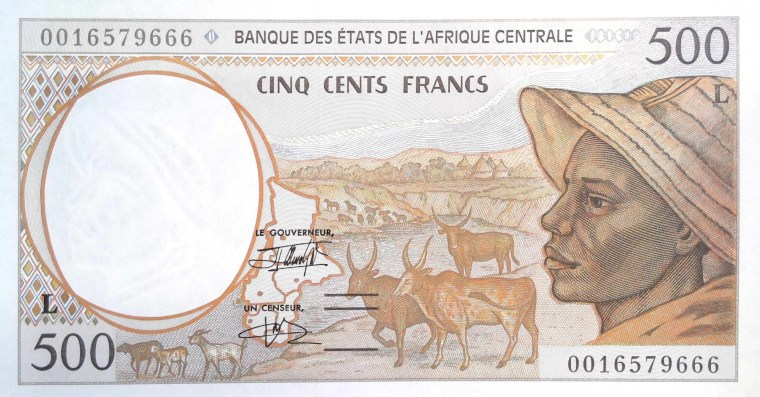 Gabon 500 Francs Banknote front, featuring shepherd and zebus, cattle