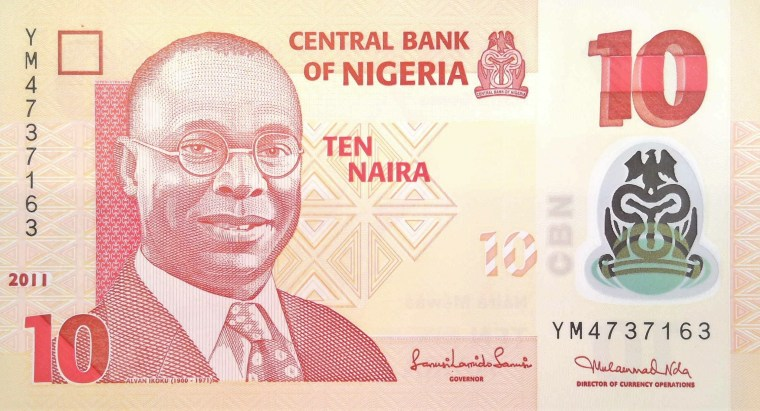 Nigeria 10 Naira Banknote, Year 2011, front, featuring portrait