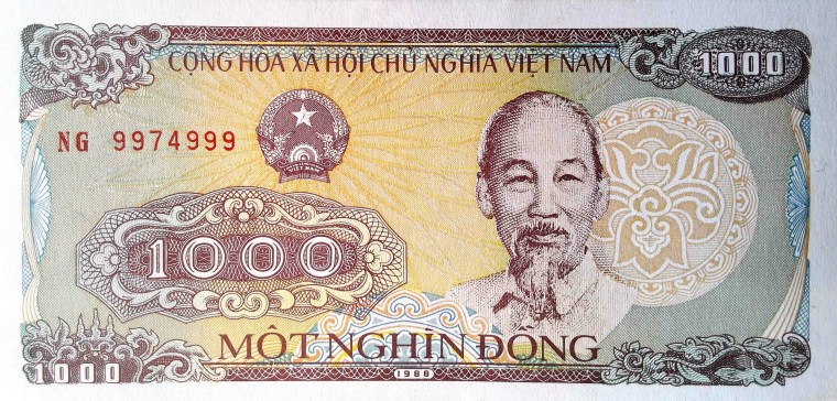Vietnam 1000 Dong Banknote, 1988 front, featuring portrait of Ho Chi Minh