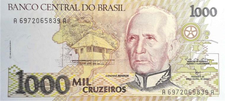 Brazil 1000 Cruzeiros Banknote front