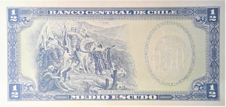 Chile 1/2 Escudo Banknote, Year 1963 back