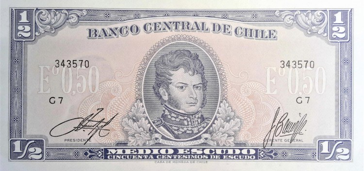 Chile 1/2 Escudo Banknote, Year 1963 front