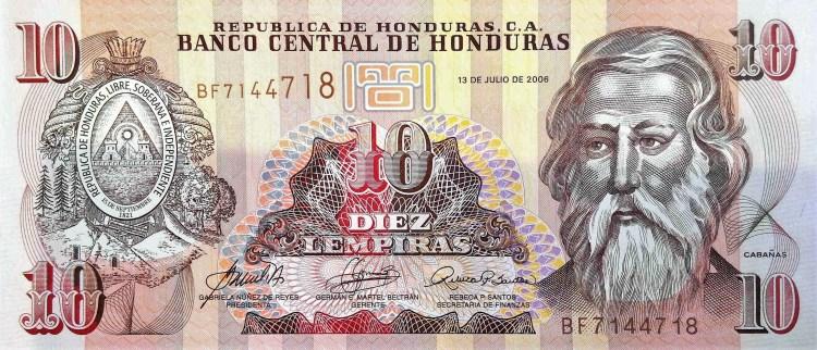 Honduras 10 Lempiras Banknote  front