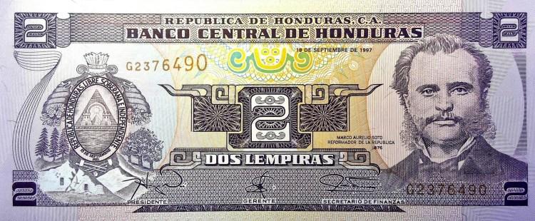 Honduras 2 Lempiras Banknote front
