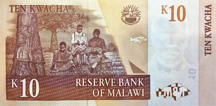 Malawi 10 kwacha banknote (2004) reverse - Girls in Education