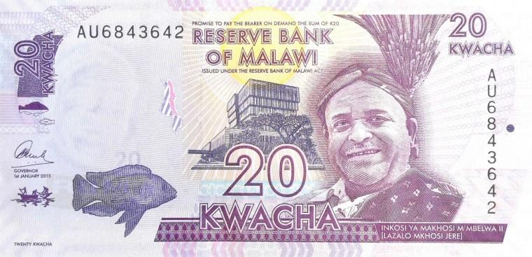Malawi 20 Kwacha banknote, year 2015 front, featuring portrait of  Inkosi Ya Makhosi M'Mbelwa II, also known as Lazalo Mkhuzo Jere