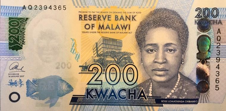 Malawi 200 kwacha banknote (2018) face, featuring portrait of  Rose Lomathinda Chibambo