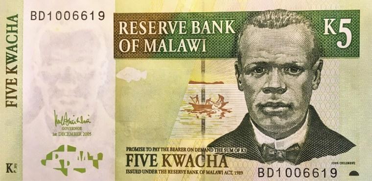 Malawi 5 kwacha banknote  (2005) front, featuring portrait of John Chilembwe