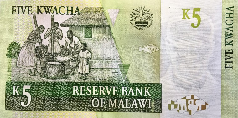 Malawi 5 kwacha banknote  (2005) reverse - featuring an image of family preparing food - Food Security