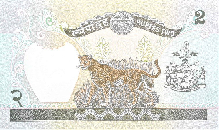 Nepal 2 Rupees Banknote, back, featuring cheetah