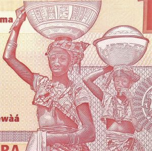 closeup detail of women on Nigeria 10 Naira Banknote, Year 2011, back