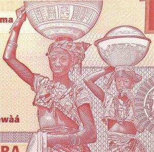 closeup detail of women on Nigeria 10 Naira Banknote, Year 2011, back