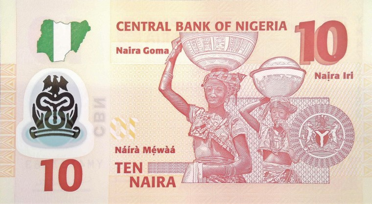 Nigeria 10 Naira Banknote, year 2011 back, featuring women carrying