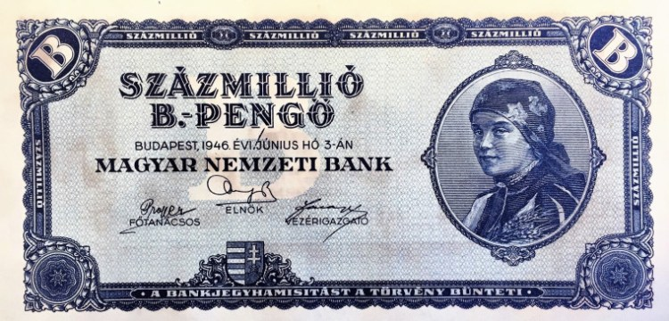 Hungary 100 quintillion pengos banknote, front