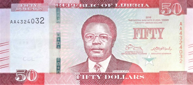 Liberia 50 dollar banknote year 2016 front, featuring portrait of President of Liberia, Samuel K. Doe.