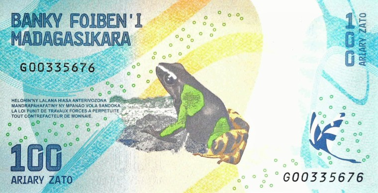 Madagascar 100 Ariary Banknote back, featuring painted mantella frog