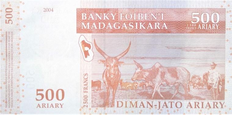 Madagascar 500 ariary banknote, year 2004 back
