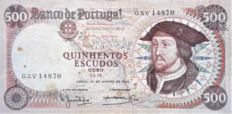 Portugal 500 Escudos Banknote, year 1966 front, Featuring  portrait of João II, the 13th King of Portugal, known as The Perfect Prince