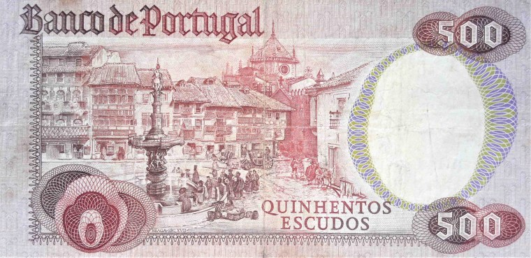 Portugal 500 escudos banknote, year 1978 back