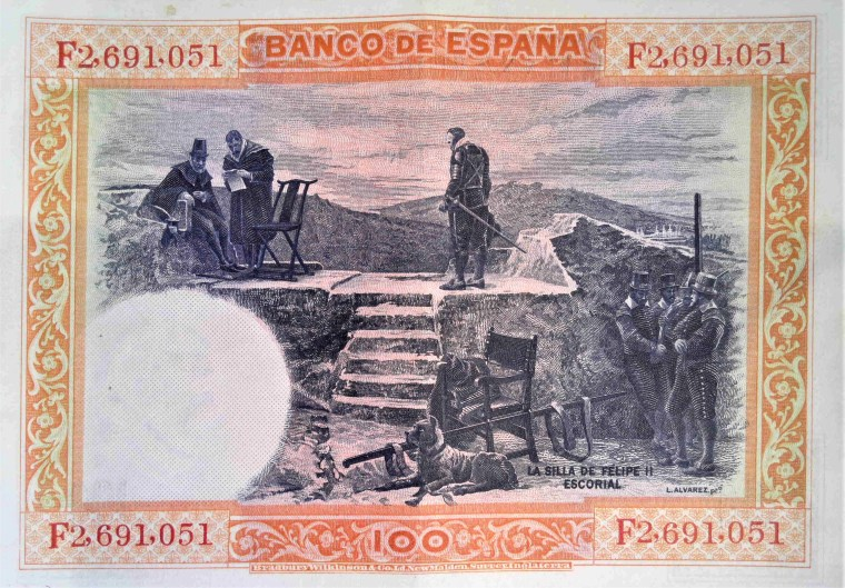 Spain 100 pesetas banknote, year 1925