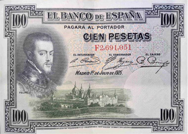 Spain 100 pesetas banknote, year 1925 back