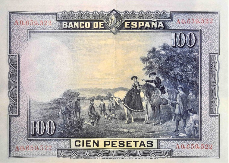 "Spain 100 pesetas banknote, year 1928 front back, featuring painting Spain 1928 100 pesetas, featuring the painting ""Encounter of the Dukes by Don Quixote"""